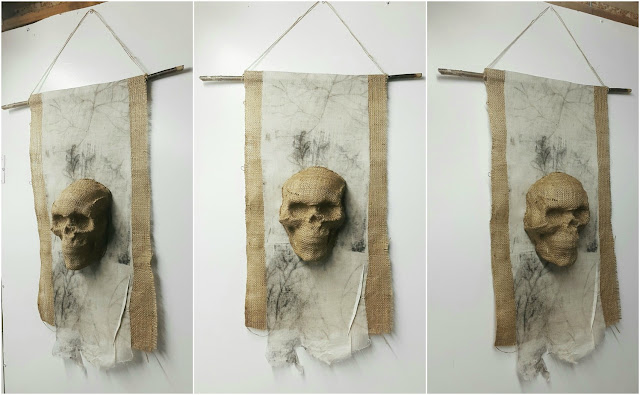 Whoopidoo Blog: Carmen Wing - Vincent the skull - Textile Hanging