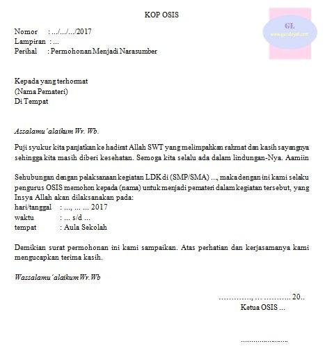contoh format surat permohonan pemateri kegiatan latihan dasar kepemimpinan (LDK) di SMP/SMA