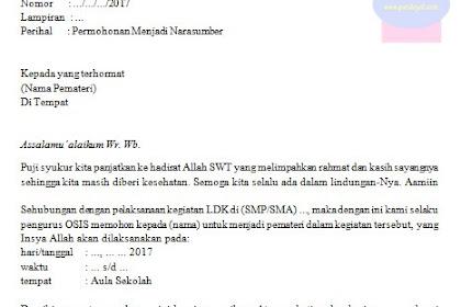 Surat Permohonan Kepada Pemateri Kegiatan LDK