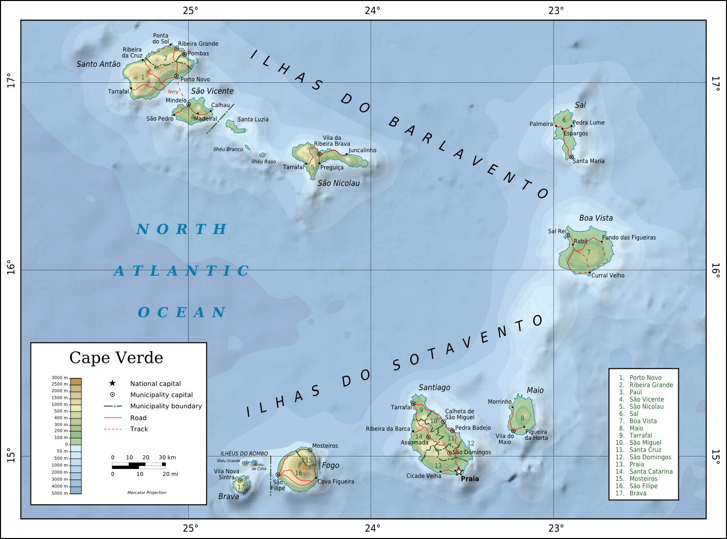 Topographic map of Cape Verde, now known officially as Cabo Verde