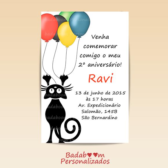 convite, festa, infantil, gatos, gato, cat, arte, digital, badaboom, personalizados