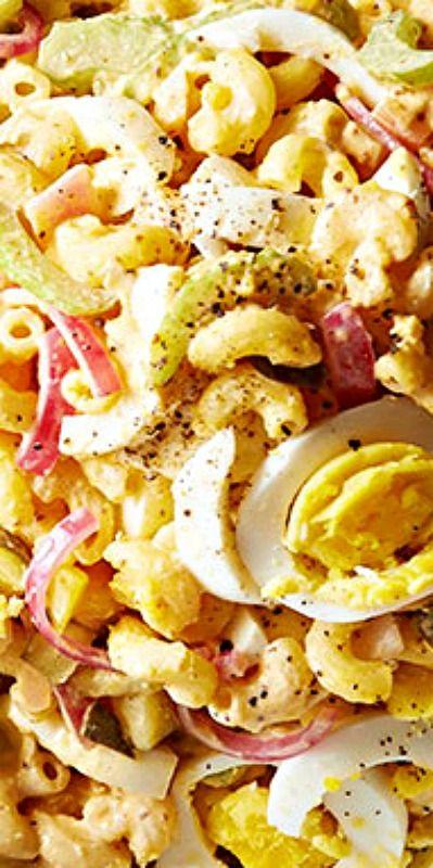 Deviled Egg Macaroni Pasta Salad #SALAD #VEGETARIAN #MACARONI