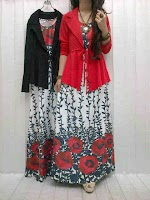 Gamis Denim Flower + Cardi SOLD OUT