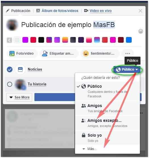Cómo ocultar la publicación a algunas personas - MasFB