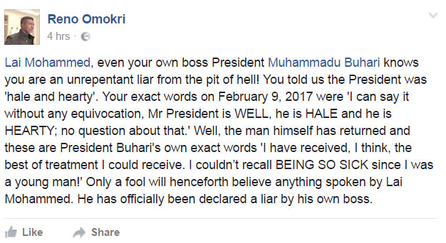 Even Buhari knows you're a liar - Reno Omokri bombs Lai Mohammed