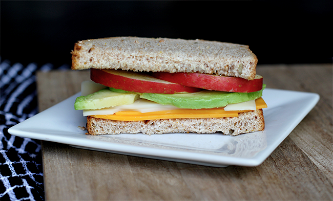 Cheese, Fuji Apple, and Avocado Sandwich