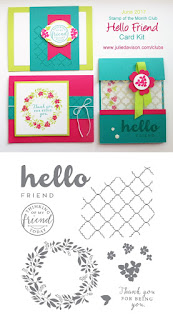 Stampin' Up! Hello Friend Card Kit for June Stamp of the Month Club by Julie Davison www.juliedavison.com/clubs ~ Lemon Lime Twist ~ 2017-2018 Annual Catalog
