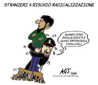 espulsioni, radicalismo islamico, carabinieri, terrorismo, prevenzione, umorismo, vignetta, satira