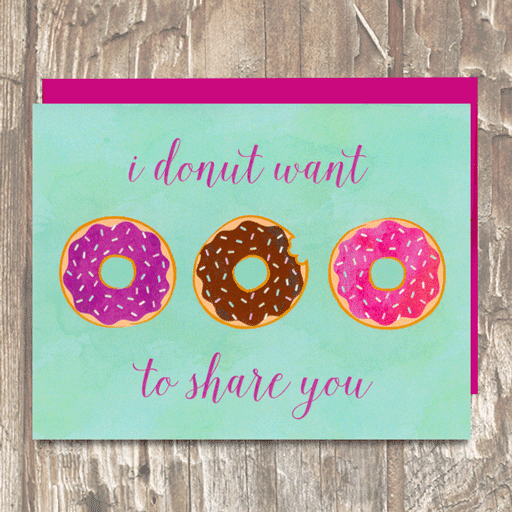 I Donut Want to Share You Mint Valentine's Day Love Card