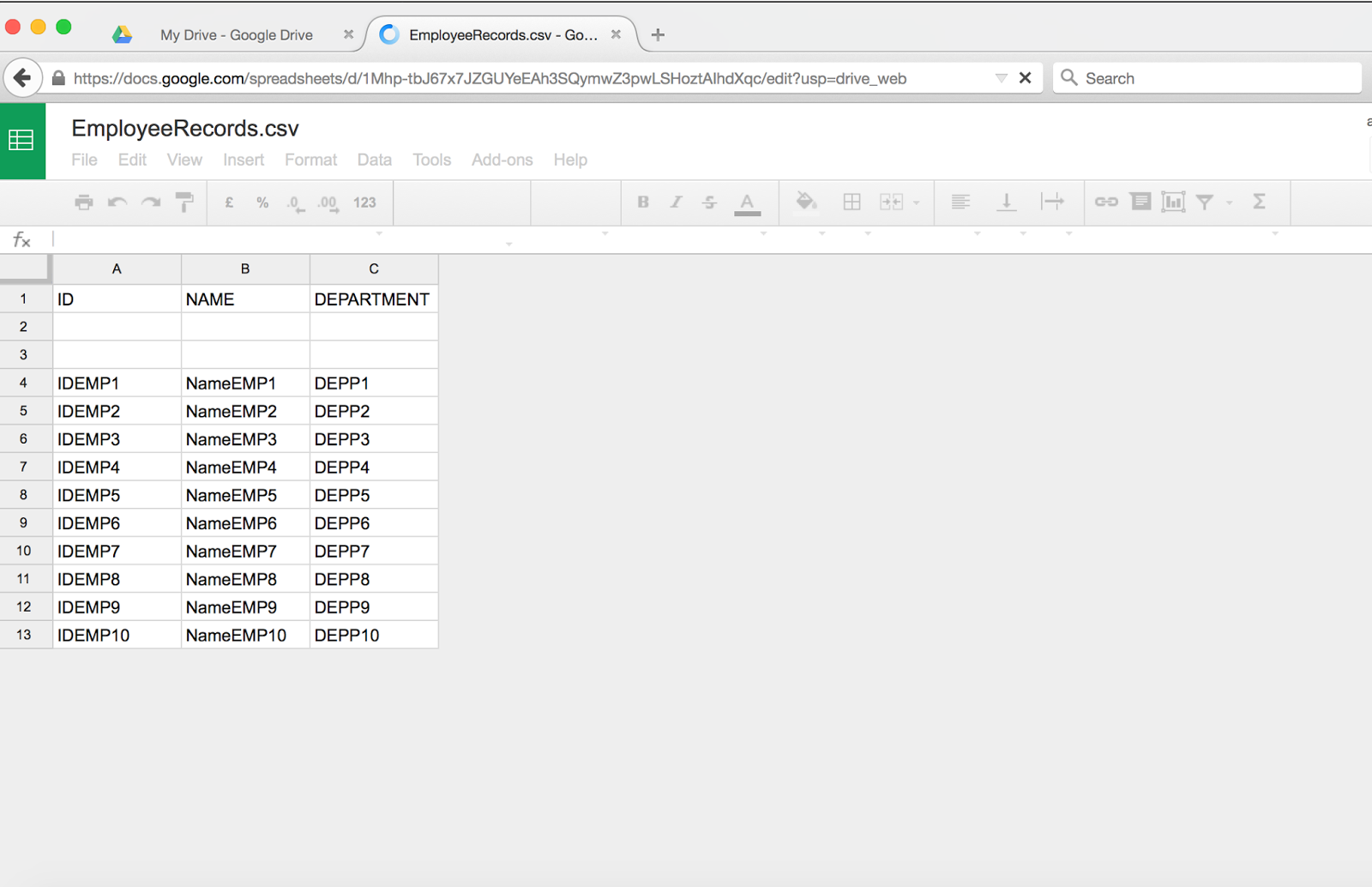 CSV file created programmatically and then uploaded to Google drive and shown in Spreadsheet