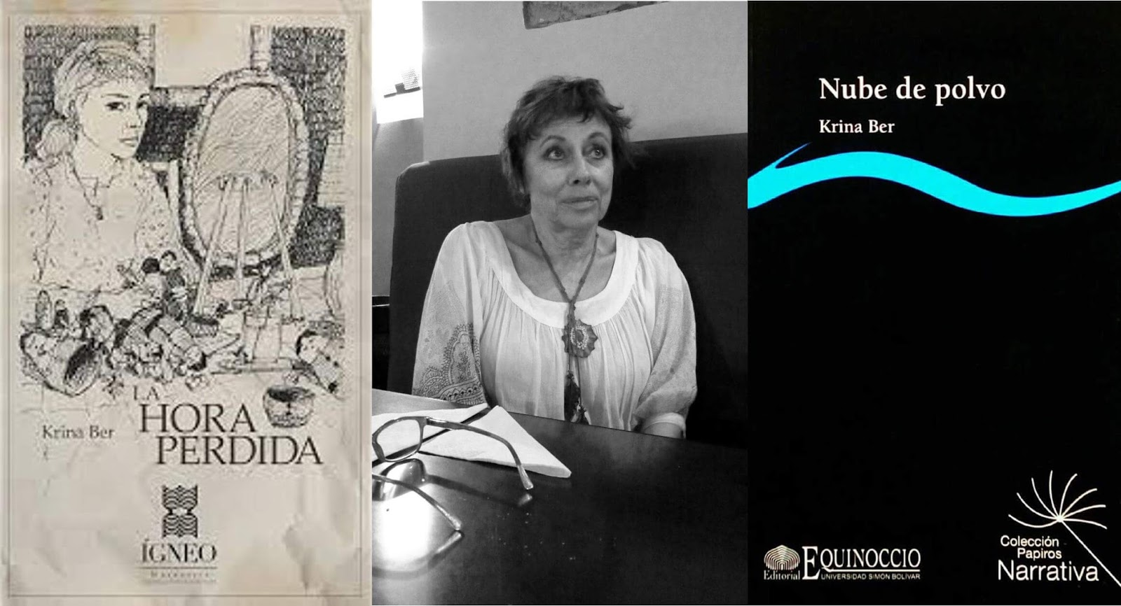 Carátulas de libros de Krina Ber: La hora perdida y Nube de polvo