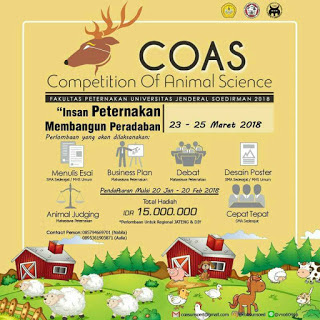 Lomba Cepat Tepat COAS (Competition Of Animal Science) 2018 di Unsoed