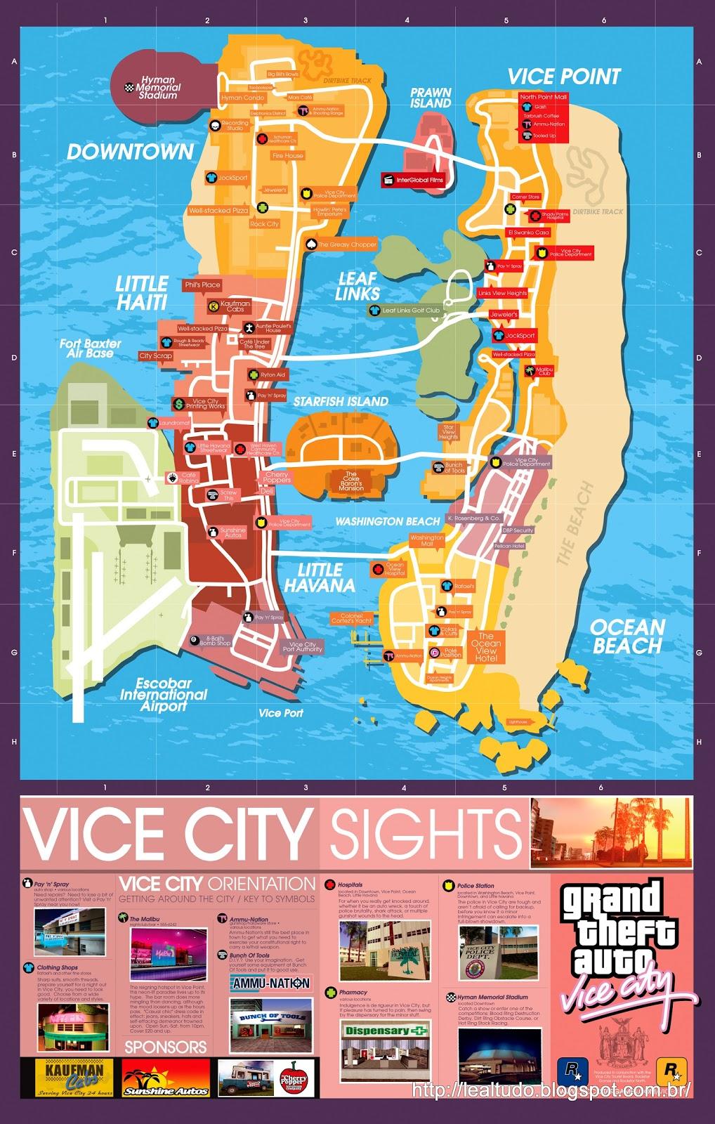 GTA VICECITY MAP - GTA VICE CITY MAP - GRAND THEFT AUTO VICE CITY MAP MAPA