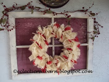Eclectic Red Barn: Burlap Tied Christmas Wreath