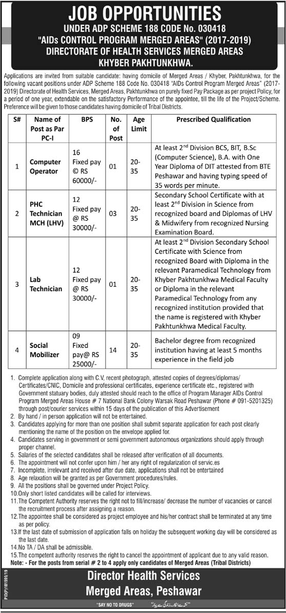 AIDS Control Program Jobs in KPK 2019