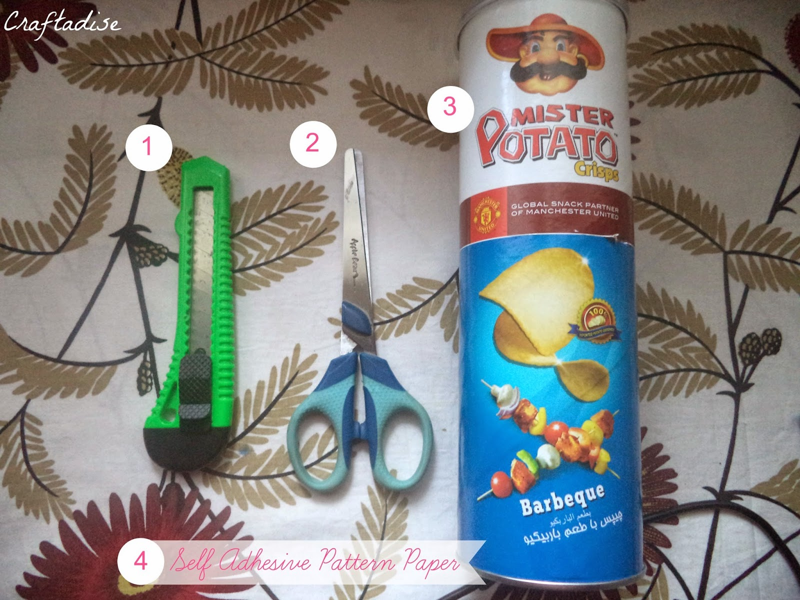 DIY: Mister Potato Crisps or Pringles Box turned Pencil and Crochet Hooks Stand