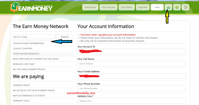 earnmoney-network-account-information
