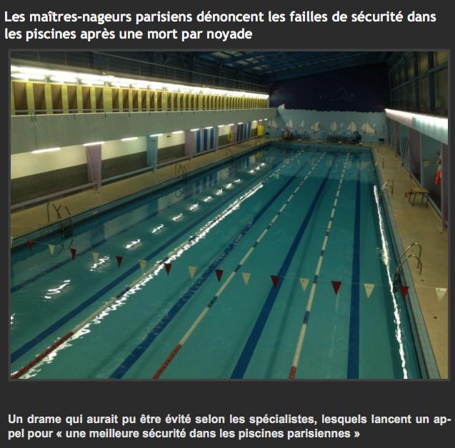 Gestion du risque de noyade en piscine publique for Piscine xveme