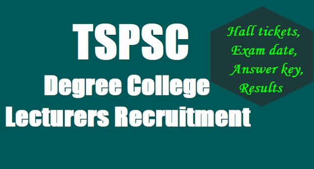 TSPSC Degree College Lecturers Recruitment,Exam date,Hall tickets, Answer key,Results