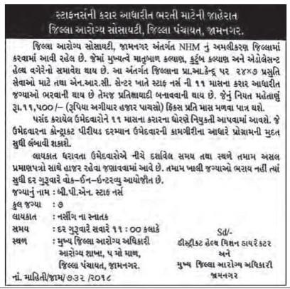 District Health Society, Jamnagar Recruitment for B.P.N