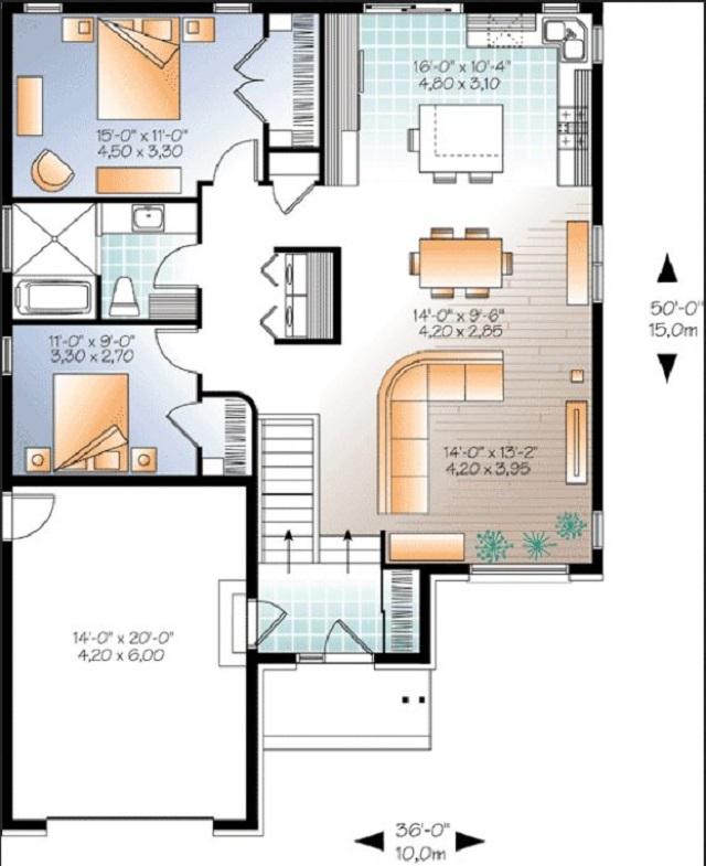 plano de casa de 2 pisos en 85m2 (10m x 8.5m)