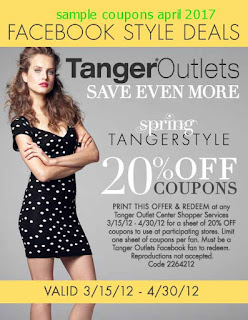 Tanger Outlet coupons for april 2017