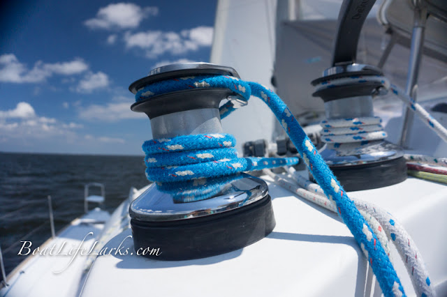 Winches on our sailing catamaran