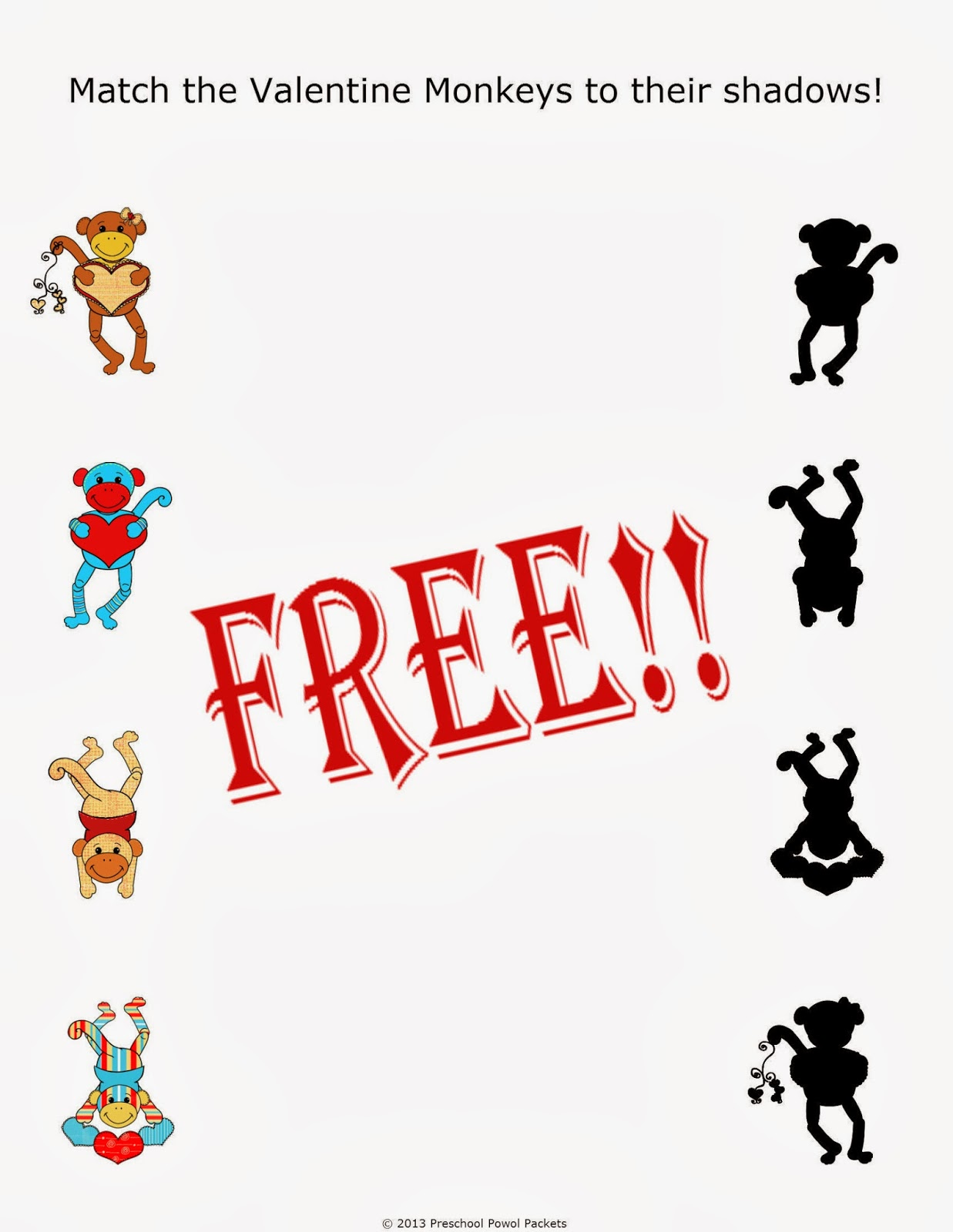Free Preschool Valentine Shadow Matching