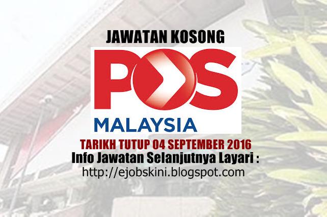 Jawatan Kosong Pos Malaysia Berhad September 2016