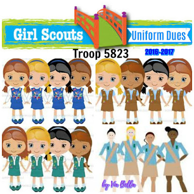 Girl Scout Uniform Prices for 2016-2017, GSCNC, Girl Scouts, Girl Scout Council, Uniform Dues, Girl Scout Uniforms, Cost of Girl Scout Uniforms, Troop 5823, GSUSA, Daisies, Brownies, Juniors, Cadettes, Seniors, Ambassador