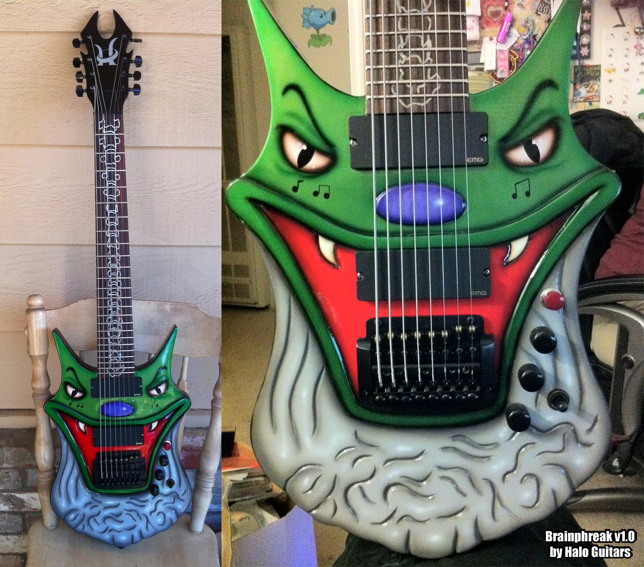 what 39 s with brainphreak new brainphreak custom 8 string from halo guitars. Black Bedroom Furniture Sets. Home Design Ideas