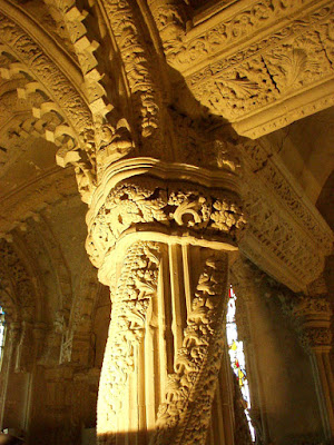 A picture of the top of the Apprentice Pillar inside Rosslyn Chapel