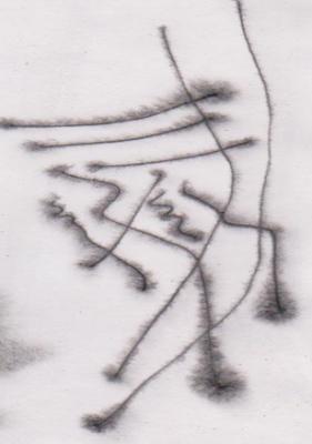 Gambar Teknik Sketsa Murni tinta Oi  dengan air menggunakan lidi di atas kertas