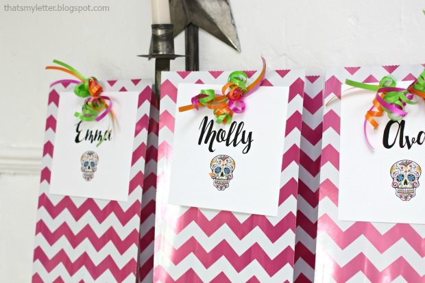 Sugar skull Halloween party favor bags