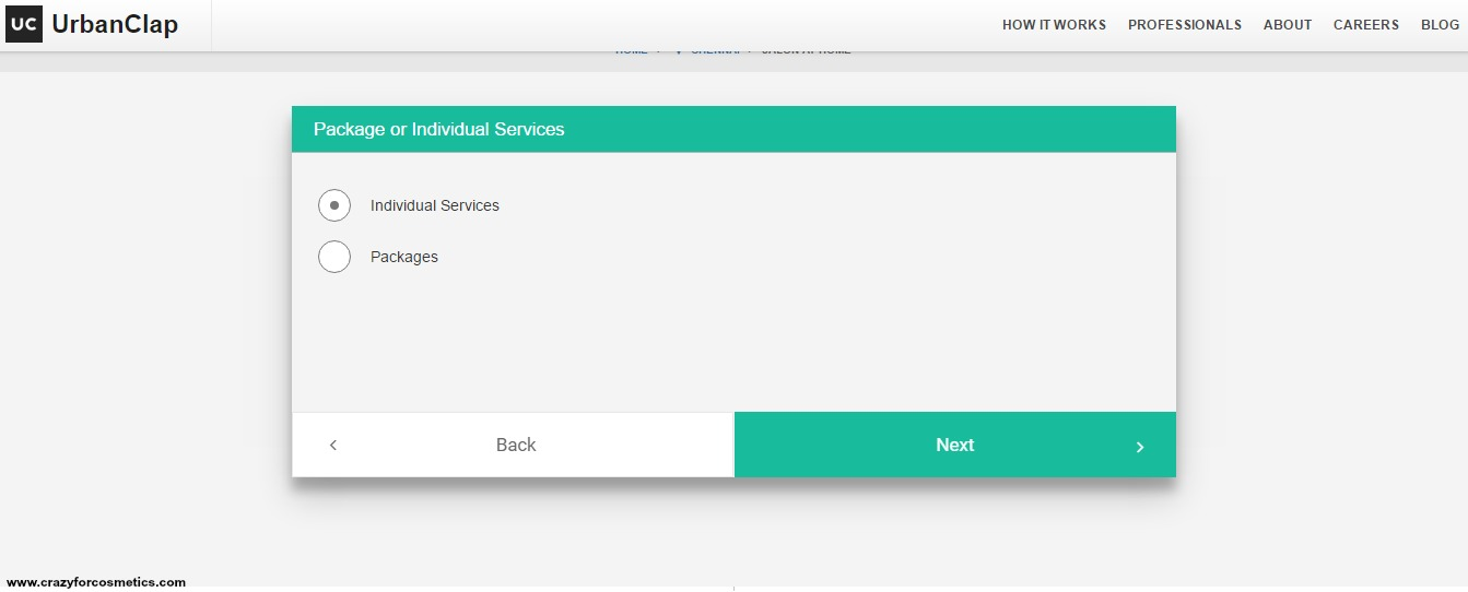 Once you have chosen to go ahead and try the Salon services at home, you  can click on the icon.Then you will have to choose Individual Services or  packages ... 7c752cc0ec