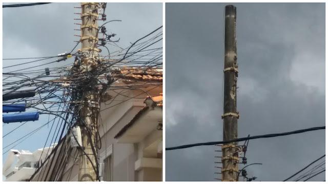 Olha só a situação desse poste na Rua Almirante Barroso!