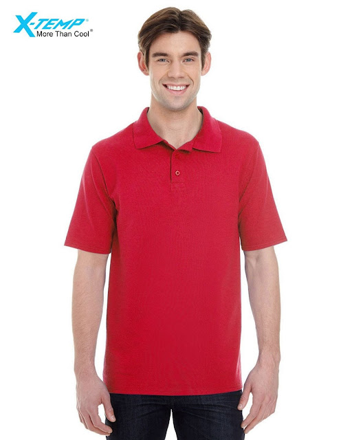 Hanes 055P Mens X-Temp Pique Short-Sleeve Polo- Red – S