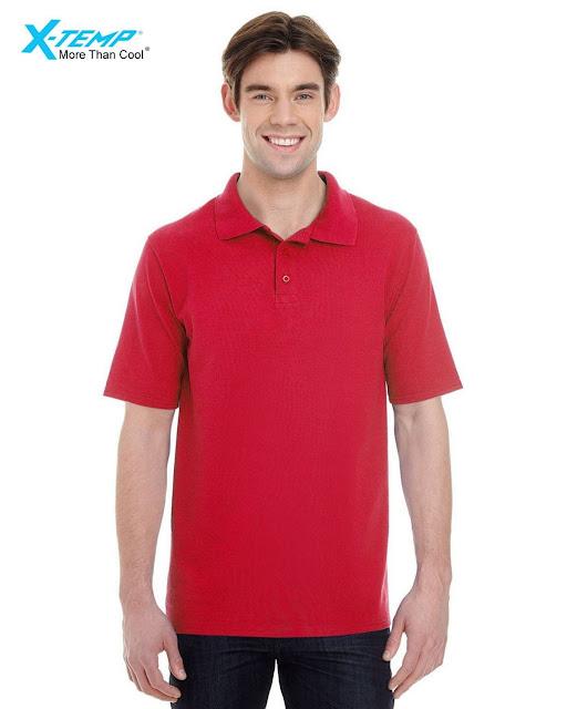 Hanes 055P Mens X-Temp Pique Short-Sleeve Polo- Red – S