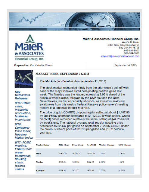 September 14, 2015 Weekly Market Update from Maier & Associates Financial Group