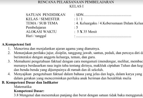 RPP Kurikulum 2013 SD Kelas 1 Tema 4 Subtema 4 Pembelajaran 5