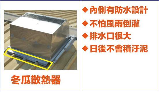 冬瓜散熱器擁有多項專利設計,是屋頂最佳通風散熱設備。