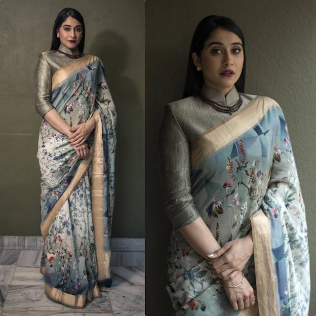 Regina Cassandra in Ekaya and Blueprint jacket for a TV interview in Chennai