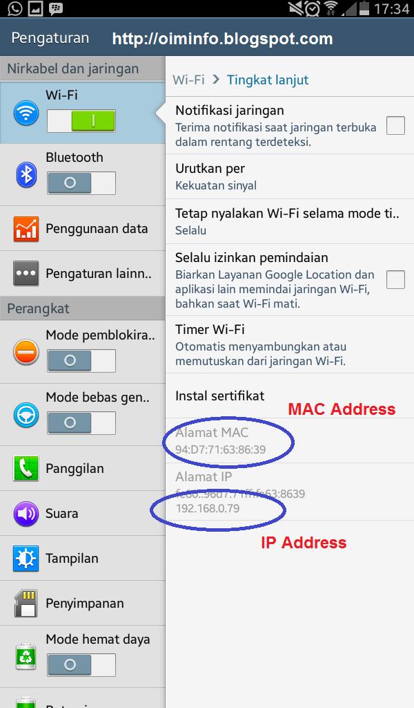 Cara Mengetahui IP Adrress dan MAC Address pada Smartphone