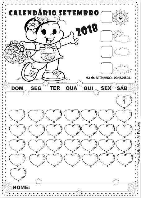 Calendários Ilustrados Turma da Mônica para imprimir Mês Setembro