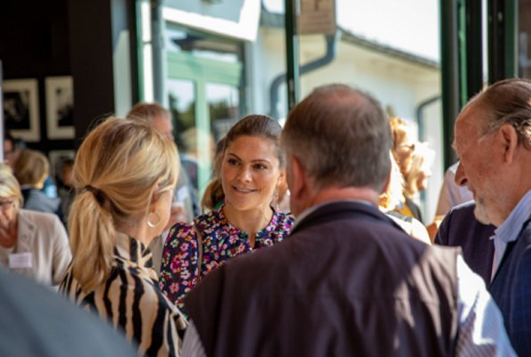 Crown Princess Victoria wore & Other Stories Floral Print Maxi Dress. SNS Tylösand Summit 2018 at Tylösand Hotel