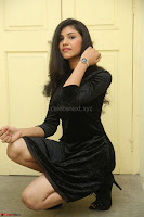 Mounika in a velvet short black dress for Tick Tack Movie Press Meet March 2017 066.JPG