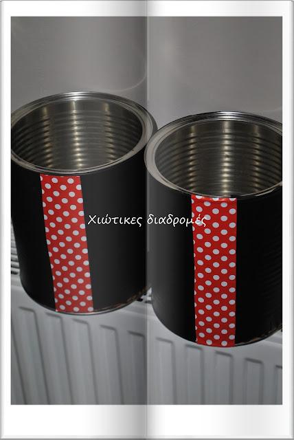 κατασκευές για διακόσμηση πάρτι γενεθλίων Μίκυ Μαους βάζα , κουτιά