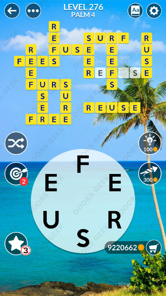 Wordscapes Level 276 answers, cheats, solution for android and ios devices.