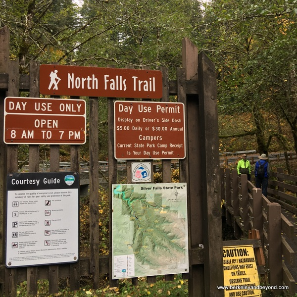 sign for North Falls Trail in Silver Falls State Park in Sublimity, Oregon