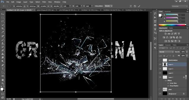 cara membuat teks efek kaca pecah di adobe photoshop